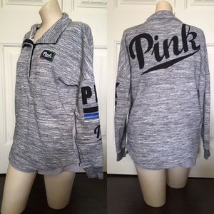 PINK | Quarter Snap Up Gray Pullover Sweatshirt